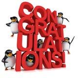 3d企鹅祝贺 库存图片