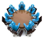 3d会议商人-在圆桌后的会议 免版税库存照片