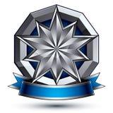 3d传染媒介经典皇家标志,老练银色象征 免版税图库摄影
