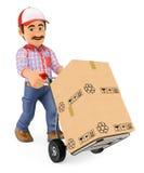 3D传讯者推挤有箱子的送货人一个手推车 免版税库存图片