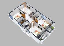 3D住宅单位的楼面布置图 免版税库存照片
