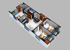 3D住宅单位的楼面布置图 图库摄影