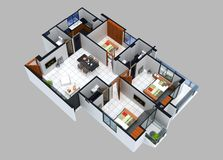 3D住宅单位的楼面布置图 库存图片