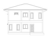 3D住宅建设& x28图画; 后面view& x29; 库存图片