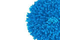 3d作为抽象蓝色球形的块 库存照片