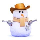 3d作为牛仔穿戴的雪人 免版税库存图片