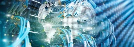 3D作为电信和互联网技术概念的地球 免版税库存图片