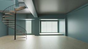 3d使圆绝尘室内部绿色和的台阶 库存例证