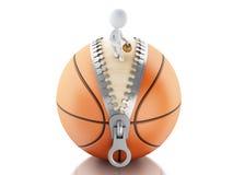 3d使用在篮球球顶部的白人 库存照片