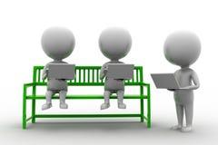 3d使用膝上型计算机的人坐长凳 库存图片