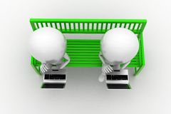 3d使用膝上型计算机的人坐长凳 免版税库存图片
