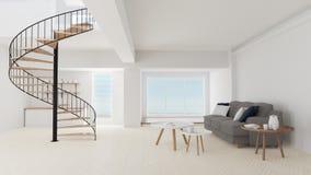 3d使绝尘室内部与圆的台阶 向量例证