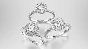 3D例证三不同人造白金或银金刚石ri 免版税库存图片