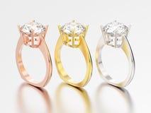 3D例证三染黄,玫瑰色和人造白金订婚eur 向量例证