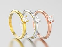 3D例证三染黄,玫瑰色和传统的人造白金或的银 免版税库存图片