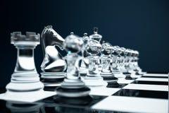 3D例证下棋比赛在船上 概念企业想法和战略想法 在黑暗的玻璃棋形象 免版税库存图片