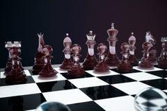 3D例证下棋比赛在船上 概念企业想法和战略想法 在黑暗的玻璃棋形象 库存图片