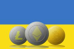 3D例证与乌克兰旗子的Litecoin Ethereum Bitcoin cryptocurrency在背景 免版税图库摄影