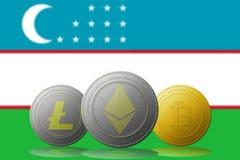 3D例证与乌兹别克斯坦旗子的Litecoin Ethereum Bitcoin cryptocurrency在背景 库存照片