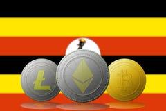 3D例证与乌干达旗子的Litecoin Ethereum Bitcoin cryptocurrency在背景 库存照片