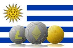 3D例证与乌拉圭旗子的Litecoin Ethereum Bitcoin cryptocurrency在背景 免版税库存图片