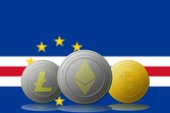 3D例证与佛得角旗子的Litecoin Ethereum Bitcoin cryptocurrency在背景 库存照片
