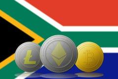 3D例证与南非旗子的Litecoin Ethereum Bitcoin cryptocurrency在背景 免版税库存图片