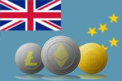 3D例证与图瓦卢旗子的Litecoin Ethereum Bitcoin cryptocurrency在背景 免版税库存照片