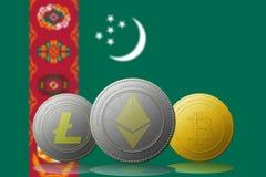 3D例证与土库曼斯坦旗子的Litecoin Ethereum Bitcoin cryptocurrency在背景 库存图片