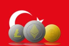 3D例证与土耳其旗子的Litecoin Ethereum Bitcoin cryptocurrency在背景 库存图片