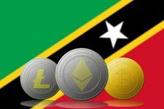 3D例证与圣克里斯多福与尼维斯旗子的Litecoin Ethereum Bitcoin cryptocurrency在背景 库存照片