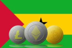 3D例证与圣多美和普林西比旗子的Litecoin Ethereum Bitcoin cryptocurrency在背景 库存图片