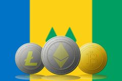 3D例证与圣文森特和格林纳丁斯旗子的Litecoin Ethereum Bitcoin cryptocurrency在背景 库存照片