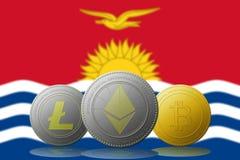 3D例证与基里巴斯旗子的Litecoin Ethereum Bitcoin cryptocurrency在背景 免版税库存图片