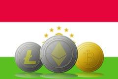 3D例证与塔吉克斯坦旗子的Litecoin Ethereum Bitcoin cryptocurrency在背景 免版税库存照片