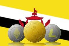 3D例证与文莱旗子的Litecoin Ethereum Bitcoin cryptocurrency在背景 免版税库存照片