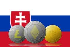 3D例证与斯洛伐克旗子的Litecoin Ethereum Bitcoin cryptocurrency在背景 库存图片