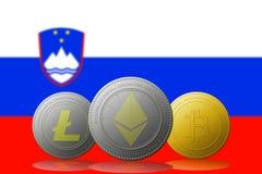 3D例证与斯洛文尼亚旗子的Litecoin Ethereum Bitcoin cryptocurrency在背景 免版税库存照片