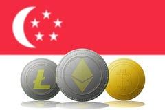 3D例证与新加坡旗子的Litecoin Ethereum Bitcoin cryptocurrency在背景 免版税库存图片