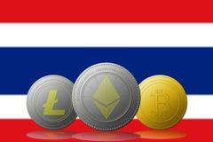 3D例证与泰国旗子的Litecoin Ethereum Bitcoin cryptocurrency在背景 免版税库存图片