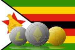 3D例证与津巴布韦旗子的Litecoin Ethereum Bitcoin cryptocurrency在背景 免版税库存图片