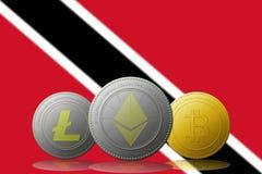3D例证与特立尼达和多巴哥旗子的Litecoin Ethereum Bitcoin cryptocurrency在背景 库存图片