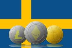 3D例证与瑞典旗子的Litecoin Ethereum Bitcoin cryptocurrency在背景 免版税库存图片