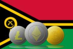 3D例证与瓦努阿图旗子的Litecoin Ethereum Bitcoin cryptocurrency在背景 免版税库存照片
