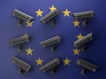 3d例证与监视器的保密性概念 库存照片