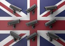 3d例证与监视器的保密性概念 免版税库存图片