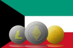 3D例证与科威特旗子的Litecoin Ethereum Bitcoin cryptocurrency在背景 免版税库存照片