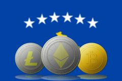 3D例证与科索沃旗子的Litecoin Ethereum Bitcoin cryptocurrency在背景 免版税图库摄影