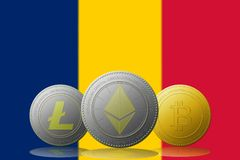 3D例证与罗马尼亚旗子的Litecoin Ethereum Bitcoin cryptocurrency在背景 库存图片