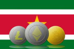 3D例证与苏里南旗子的Litecoin Ethereum Bitcoin cryptocurrency在背景 免版税库存图片